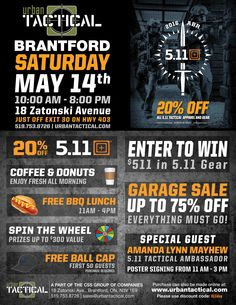 Day is just around the corner! Join us on Saturday May 14 in Urban Tactical Brantford! Coffee And Donuts, Poster Ads, Enter To Win, Join, Corner, Friday, Urban