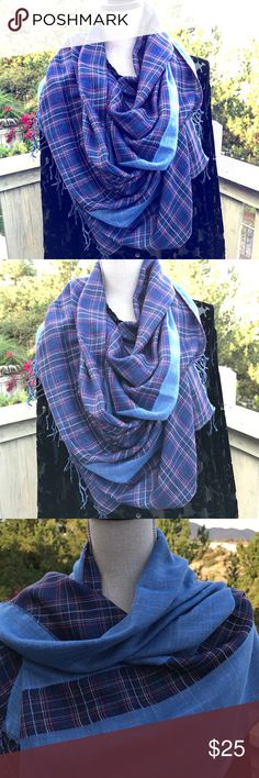 """Blue Plaid Blanket-Style Scarf This is a blue, blanket-style scarf. It has a plaid side and plain denim blue side. Great looking Scarf! Many styles to make with one fabulous scarf. Measures 2 yards and width is 22 1/2"""". It will be a great gift for Christmas or for you! Rose of Sharon Accessories Scarves & Wraps"""