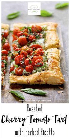 Roasted Cherry Tomato Tart with Herbed Ricotta is a lovely, elegant way to enjoy the late summer bounty of fresh herbs and cherry tomatoes! Puff Pastry Recipes, Tart Recipes, Veggie Recipes, Appetizer Recipes, Vegetarian Recipes, Cooking Recipes, Tomato Appetizers, Rock Crock Recipes, Cherry Tomato Recipes