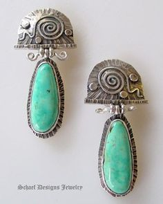 David Troutman Sterling Silver & Turquoise Drop