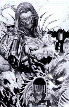 Crossovers:The Darkness meets The Dark Judges! Sweet mash-up from Philippines artist Jimbo Salgado! Black And White Comics, Black White Art, Black And White Drawing, Comic Book Artists, Comic Artist, Comic Books Art, Art Folder, Fantasy Comics, Dc Characters