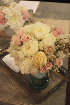 Bridal Bouquet with patience garden roses, caramel antique roses, spray roses, blushing bride protea and pieris japonica, Alexandra Jusino, Exquisite Designs