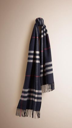Navy The Classic Cashmere Scarf in Check Navy -  1