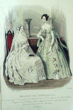 September 1846  +++++++++  GRAVURE de MODE AUTHENTIQUE-X163-MAGASIN DEMOISELLES-ROBE DE MARIEE-1846