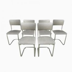 Belgian Industrial Cantilever Chairs from Tubax, 1960s, Set of 6