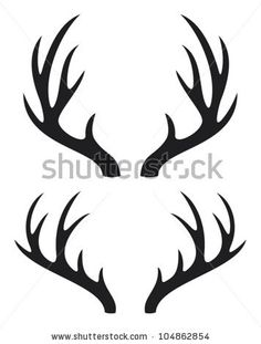 Illustration of deer horns vector art, clipart and stock vectors. Hirsch Silhouette, Deer Head Silhouette, Deer Vector, Vector Art, Vector Stock, Deer Art, Moose Art, Antler Drawing, Deer Horns