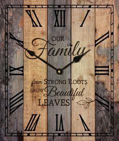 From In The Garden and More. com This beautiful inspirational word clock is made from recycled pallets, sanded, stained and made into a magnificent wall clock that is inspirational, rustic and beautiful. This clock in made in the USA Rustic Wood Walls, Rustic Wall Art, Wall Wood, Unique Wall Clocks, Wood Clocks, Pallet Clock, Diy Pallet Furniture, Furniture Ideas, Laminate Furniture