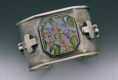 Cuff | Linda Lundell. 'Flora'.  Sterling silver and and cloisonné enamel