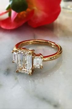 Diamond Wedding Rings - Emerald cut engagement rings are a wonderful and unique way to express your love. Read the post to choose breathtaking rings! Yellow Engagement Rings, Perfect Engagement Ring, Antique Engagement Rings, Engagement Ring Cuts, Three Stone Engagement Ring, Emerald Cut Diamond Engagement Ring, Solitaire Engagement, Wedding Rings Vintage, Wedding Jewelry
