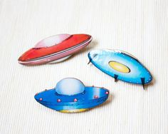 UFO Brooch, Alien Geeky Pin, Retro Toy, Red, Blue,  Flying Saucer, Outer Space, Sci Fi, Wood, Wooden, Unique Jewelry, Geekery, You get all 3...