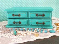 Laguna Blue Ring Organizer..Vintage Upcycled Jewelry Box by CountryChicShoppe $45 http://etsy.me/1aDlO6g via @Etsy  #vintage #jewelrybox #upcycled #beachhouse #laguna #blue #ringorganizer