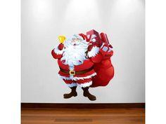 Adesivo de Parede para decoração de Natal - Papai Noel e Saco de presentes
