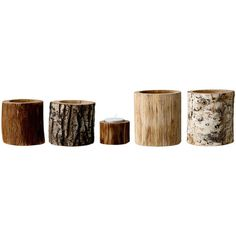 Bloomingville Wooden Nature Votives - Set of 5 (€73) ❤ liked on Polyvore featuring home, home decor, candles & candleholders, fillers, decor, candles, wood, wood trunk, wooden candles and wood candle holders