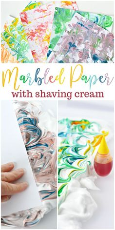 Diy marbled paper with shaving cream. art activities for kidsart Crafts For Teens, Projects For Kids, Diy For Kids, Diy Projects, School Projects, Diy And Crafts Sewing, Arts And Crafts, Diy Crafts, Shaving Cream Painting