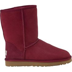 UGG® AUSTRALIA Classic Short Sangria Wine Suede ($155) ❤ liked on Polyvore featuring shoes, boots, ankle booties, uggs, wine, ankle boots, suede ankle booties, short boots, suede heel boots and ugg australia