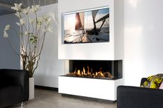 Best Pics Gas Fireplace wall Strategies The weather out of doors may be frightful, but your fireplace is really so delightful! 3 Sided Fireplace, Tv Above Fireplace, Linear Fireplace, Open Fireplace, Fireplace Inserts, Fireplace Design, Living Room Tv, Living Room With Fireplace, Contemporary Gas Fireplace