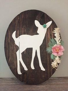 Oval Fawn Sign with Assorted Flower Arrangement: light
