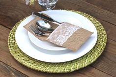 Fancy up that table of yours with these darling burlap and lace utensil holders! Made out of the finest burlap and trimmed with the sweetest lace, your guests w
