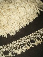 Vintage 1920's Novelty Lace Flat Tassel Fringe Unused Creamy White 13 Yards