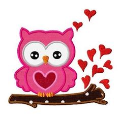 Love Owl Applique - 3 Sizes! | Birds and Birdhouses | Machine Embroidery Designs | SWAKembroidery.com Dollar Applique