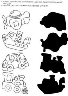 Crafts,Actvities and Worksheets for Preschool,Toddler and Kindergarten.Lots of worksheets and coloring pages. Preschool Learning Activities, Kindergarten Worksheets, Infant Activities, Toddler Preschool, Preschool Activities, Transportation Crafts, Matching Worksheets, Kids Education, Pre School