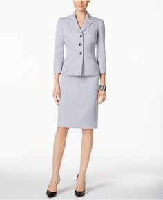 Shop Now - >  https://api.shopstyle.com/action/apiVisitRetailer?id=639835490&pid=uid6996-25233114-59 Le Suit Tweed Three-Button Skirt Suit  ...