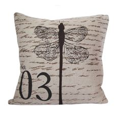 This vintage inspired dragonfly pillow is a fun accent for any couch or chair.