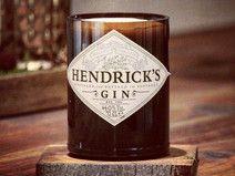 Kerze aus recyclter Hendricks Gin Flasche