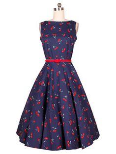 EkarLam Sleeveless Vintage Cherry Print Audrey Hepburn Outfit Swing Dress Navy L Vestidos Vintage Retro, Vintage Dresses 50s, 50s Dresses, Retro Dress, Cute Dresses, Beautiful Dresses, Casual Dresses, Fashion Dresses, 50s Vintage