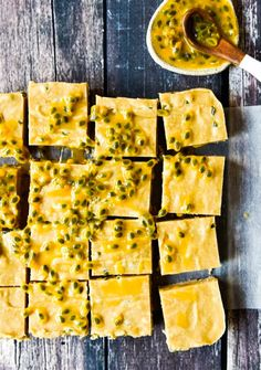 Passionfruit Slice with Thermomix and Conventional Instructions. Simple, delicious and free from gluten, grains, dairy, egg and refined sugar. Thermomix Recipes Healthy, Thermomix Desserts, Raw Food Recipes, Cooking Recipes, Cooking Tips, Desserts Crus, Raw Desserts, Paleo Dessert, Dessert Recipes