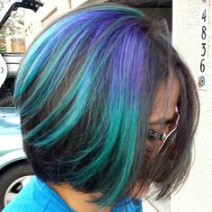 Peacock turquoise purple blue ombre hair