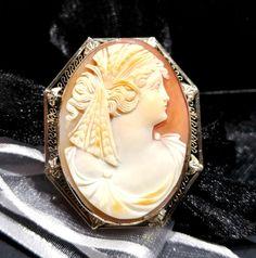 Her brooch idea, Wife birthday idea, 1920s Gatsby dress, 1920s Art Deco dress, Her 14k white gold gift, Edwardian filigree cameo pin pendant