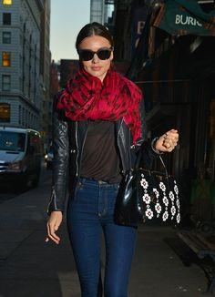 Miranda kerr. Red scarf. blue jeans. black leather jacket. LADIES StreetStyle. Women's Fashion