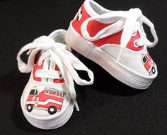 Firetruck & Dalmatian Canvas Lace-up Painted Shoes. Too cute! | Shared by LION