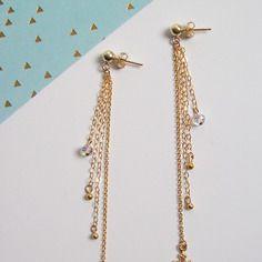 Boucles d'oreilles chaînes de croix plaqué or 14carats