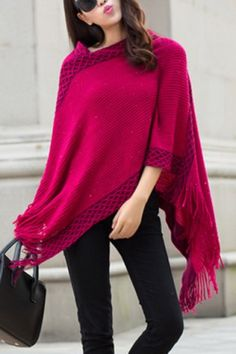 Chic 3/4 Sleeve Asymmetrical Fringed Women's Sweater Sweaters & Cardigans | RoseGal.com Mobile