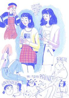 Fran Meneses is creating illustrations Gouache Illustrations, Illustration Sketches, Illustrations And Posters, Character Illustration, Character Art, Character Design, Animation Character, Character Sketches, Minimalist Bullet Journal