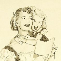 American Art - Singing Along With Mother: Vintage Original Illustration Art #MothersDay #rubylane