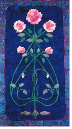 """""""Vining Rose"""" applique quilt pattern by Mary Kay Perry.  Art Nouveau design."""