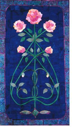 """""""Vining Rose"""" applique quilt pattern by Mary Kay Perry. Rose Applique, Applique Patterns, Applique Quilts, Quilt Patterns, Small Quilts, Mini Quilts, Art Nouveau Design, Art Deco, Quilt Inspiration"""