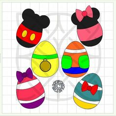 This File Contains 6 Different eggs in the design of Mickey & Friends, as seen in Photo. There is one of each style Mickey, Minnie, Daisy Duck,