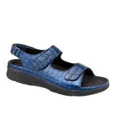 350bd2aaa86c Look at this  zulilyfind! Blue Croc Dora Leather Sandal by Barefoot Freedom   zulilyfinds