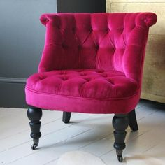 pink button back velvet nursing chair <3