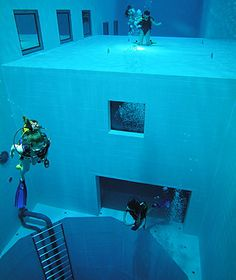 Nemo 33, Brussels  Why It's Cool: At 108 feet deep, the world's deepest recreational pool is one of the most popular diving facilities in the world, thanks to its playful and unconventional design. The pool features a cylindrical deep-dive pit, flat platforms at various depth levels (16 feet and 33 feet, respectively), and large windows for spectators.