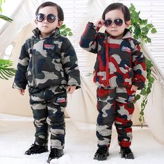 39.45$  Know more - http://ai0me.worlditems.win/all/product.php?id=32755935787 - Winter Toddler Baby Boys Camouflage Clothing Sets Thicken Coat + Pants 2 Pcs Infant Baby Jackets Boys Down Coat Kids Snowsuits