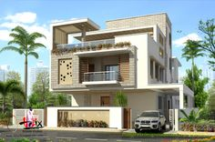 House Outer Design, House Balcony Design, Two Story House Design, Bungalow House Design, House Front Design, House Design Photos, Small House Design, Modern Bungalow Exterior, Modern Exterior House Designs