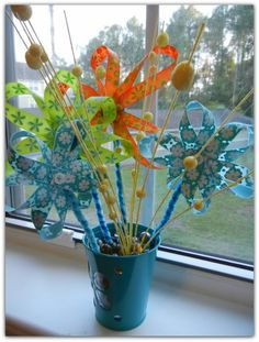 DIY Flowers, site says for Mothers Day but you can change up the ribbons for anytime (even male theme ribbon for men), also as some know when people are in different parts of the hospital no real flowers, these are perfect and they keep.