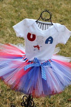 USA Tutu Outfit Red White and Blue Tutu 4th of by TutusByJessT