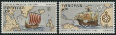 Faroe Islands #236-37 (06 Apr 1992) Discovery of America Europa issue:   Viking longboat Leif Erikson;  Sailing ship of Christopher Columbus.   (stamps with border line)