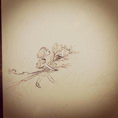 "@claireonacloud's photo: ""Illustration for ""A Fairy Friend"" #WIP #penandink #watercolor #afairyfriend #SueFliess"""